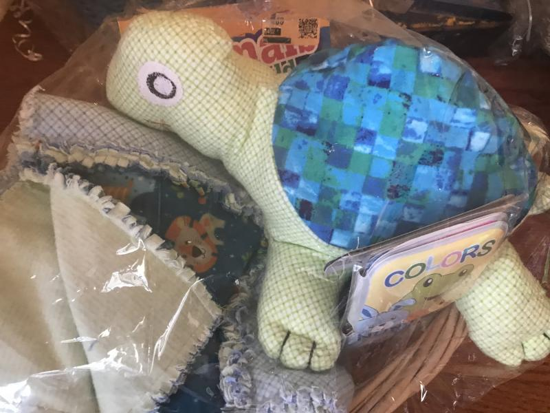 Animal Quilt and Stuffed Turtle
